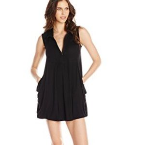 J. Valid zip Front Cover-up Dress Black Size Small